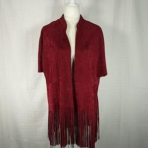Joy Joy maroon faux suede fringe jacket M/L 0208